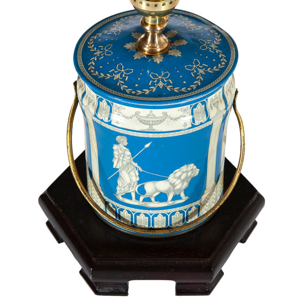 Vintage Blue & White Classical Theme Tin Lamp with New Shade
