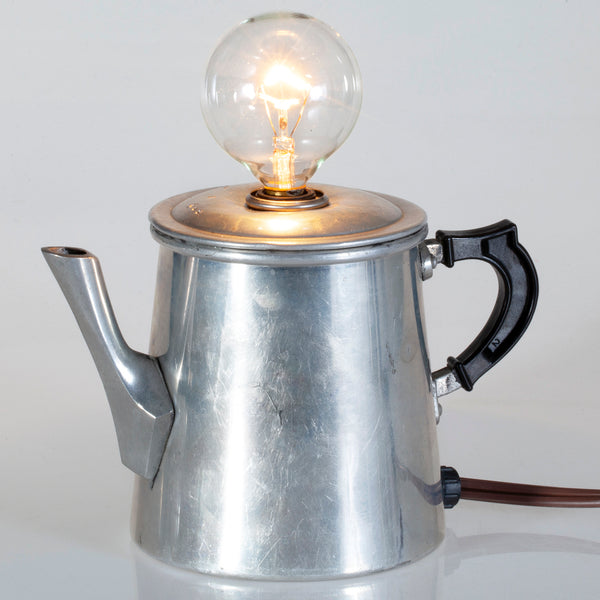 Vintage Silver Metal Italian Tea / Coffee Pot Lamp with New Filament Lightbulb