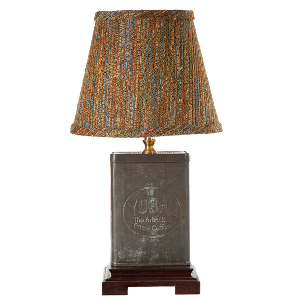 Vintage Coffee Tin Lamp with New Fabric Lamp Shade