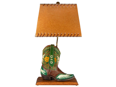 Vintage Leather Cowboy Boot Lamp with Original Laced Rectangular Lampshade