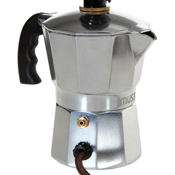 Vintage Silver Metal Espresso Coffee Pot Lamp