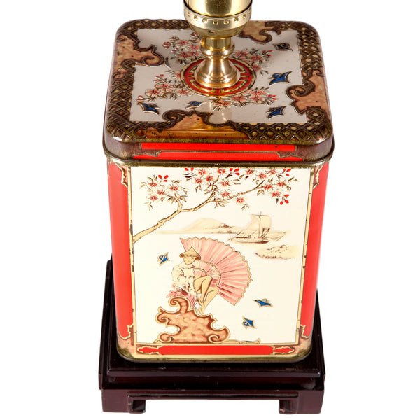 Vintage Asian Theme Tea Caddy Lamp