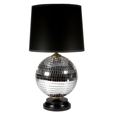 Silver Mirror Disco Ball Lamp