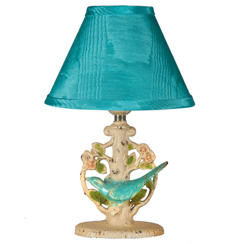 Vintage Small Cast Iron Bird & Floral Lamp