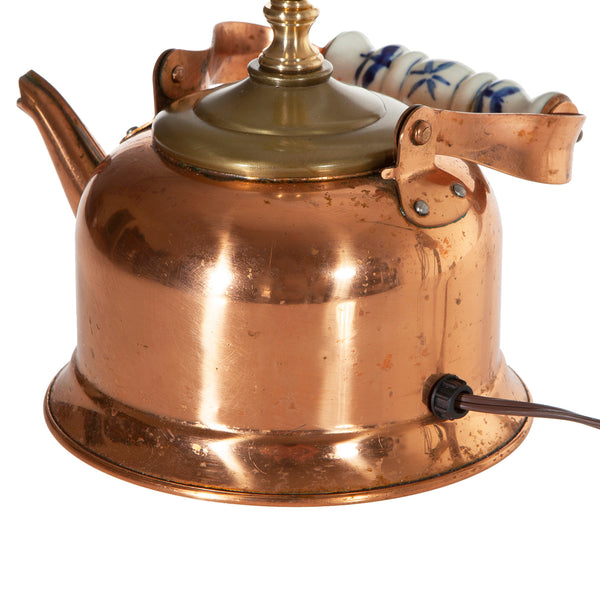 Vintage Copper Teapot Lamp with New Fabric Lampshade