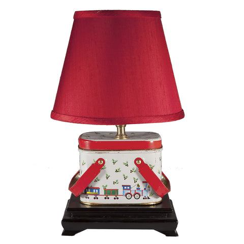 Vintage Christmas Train Tin Lamp