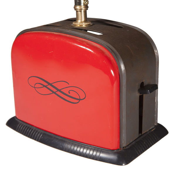 Vintage Kids Red Metal Toaster Kitchen Lamp