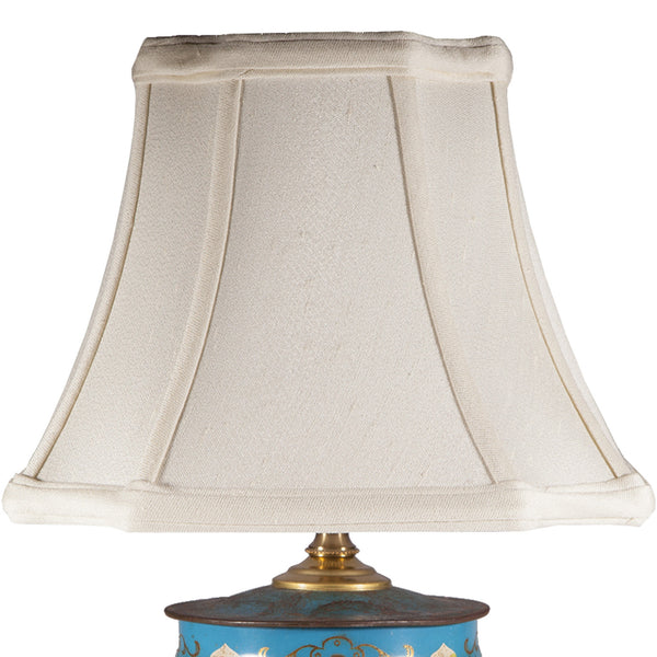 Vintage Turquoise Blue Asian Caddy Lamp