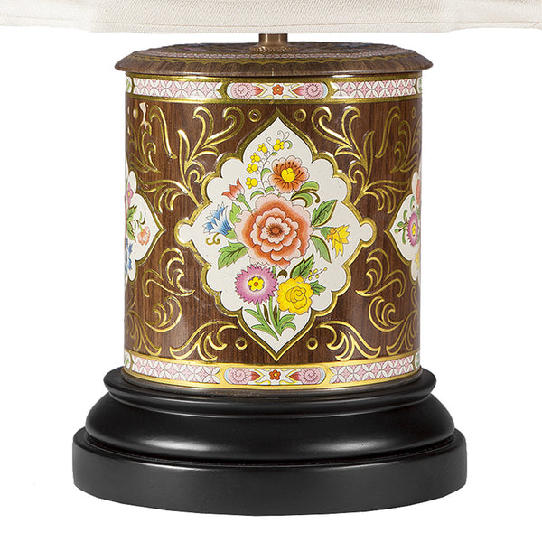Vintage Brown Floral Tea Caddy Lamp