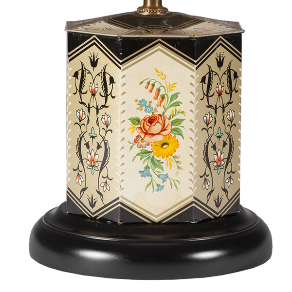 Vintage Black Floral Tea Caddy Lamp