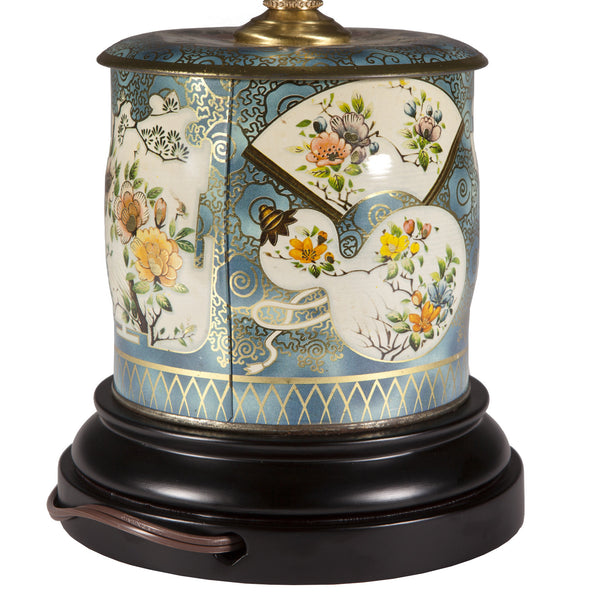 Vintage Blue Floral Tea Caddy Lamp