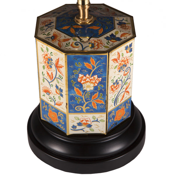 Vintage Blue Floral Hexagonal Tea Caddy Lamp