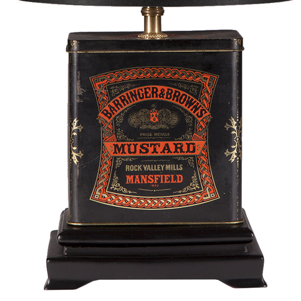 Vintage Barringer & Brown Mustard Tin Lamp
