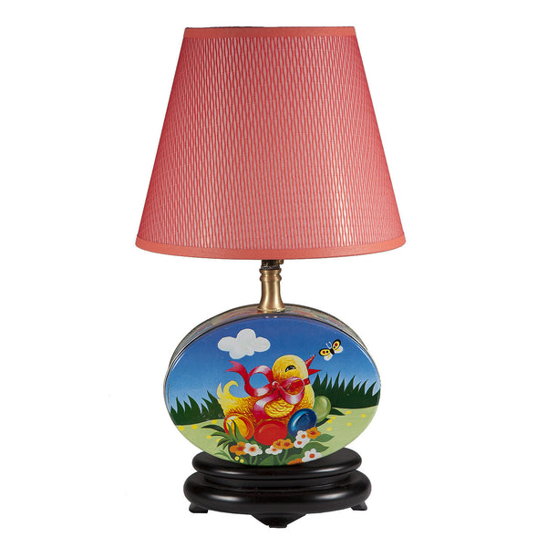 Vintage Nursery Baby Chick Tin Upcycled Lamp