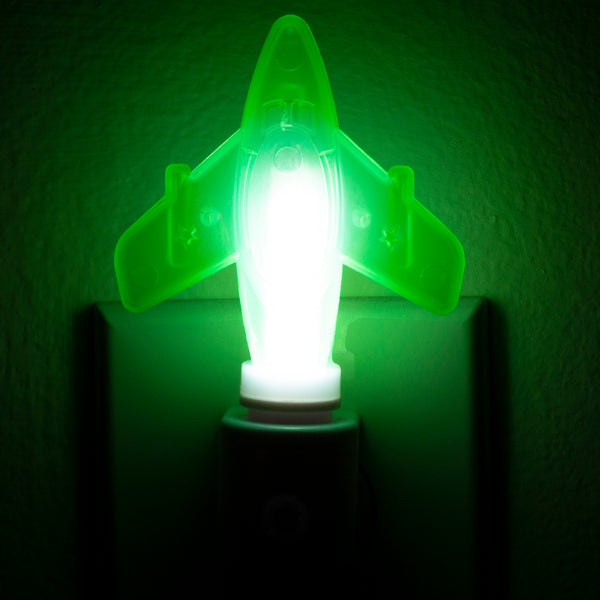 Handcrafted Green Airplane Night Light - LED Plug In Nightlight