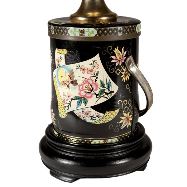 Vintage Black Butterfly Floral Caddy Lamp