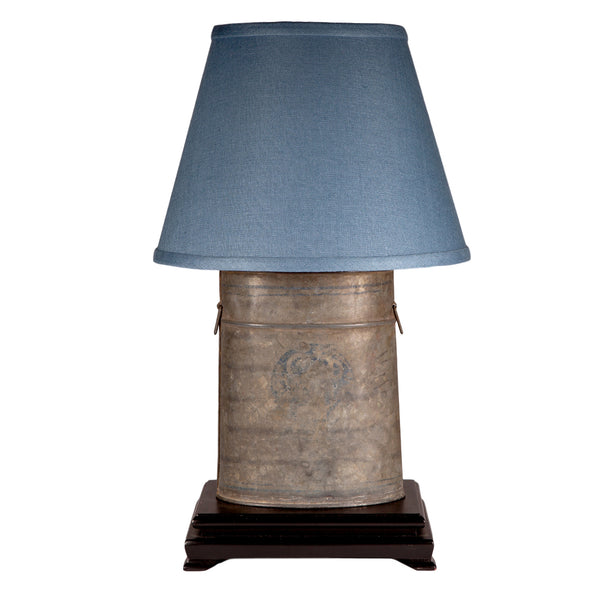 Vintage Minnow Bucket Up-cycled Lamp with New Blue Lamp Shade