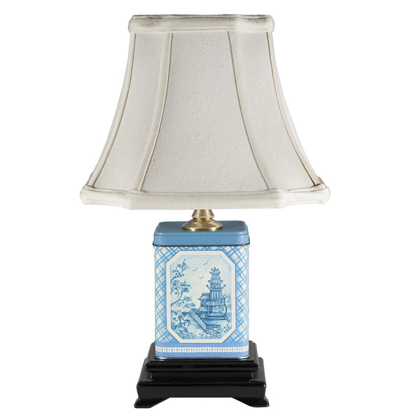 Vintage Blue & White Square Tea Caddy Lamp