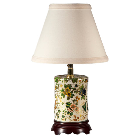 Small Vintage Green Floral Caddy Lamp