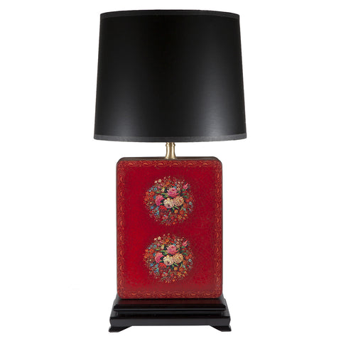 Vintage Red Crackled Floral Metal Lamp