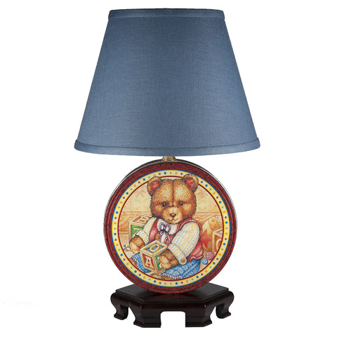 Vintage Round Teddy Bear Tin Lamp