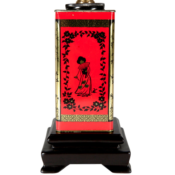 Vintage Small Red Asian Tea Caddy Lamp