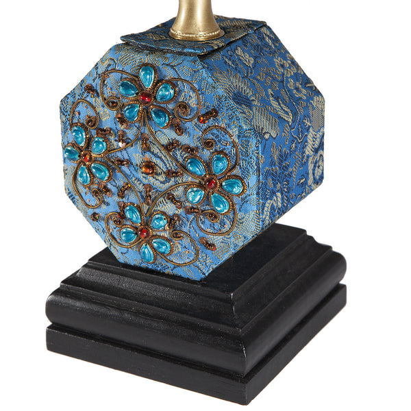 Small Vintage Blue Fabric Box Lamp