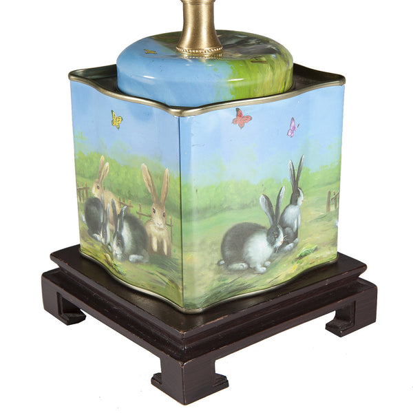 Vintage Bunny Rabbit Tin Upcycled Lamp