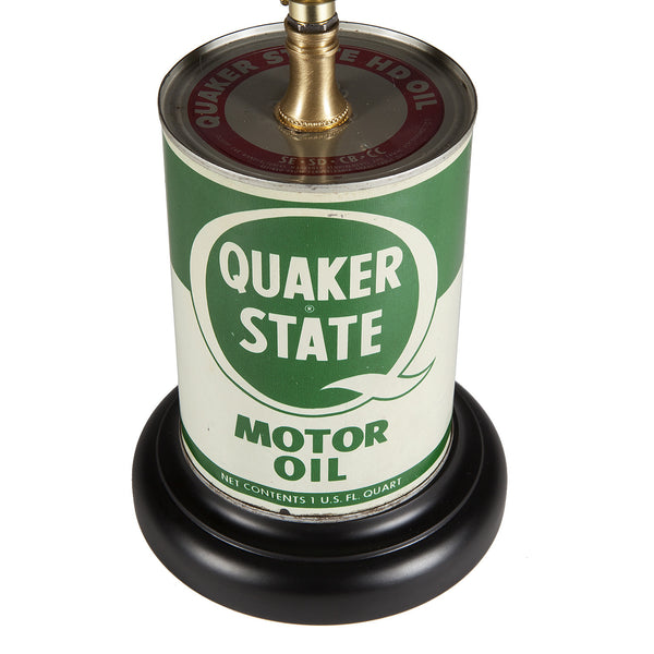 Vintage Green & White Motor Oil Can Lamp