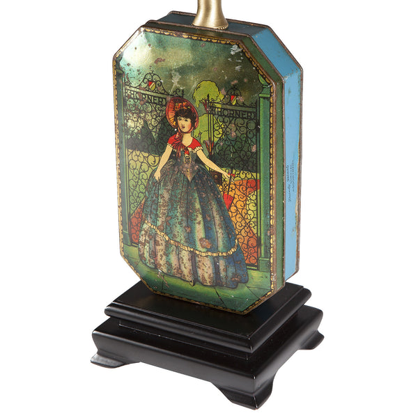 Lovely Vintage Victorian Girl Tin Up-cycled Lamp