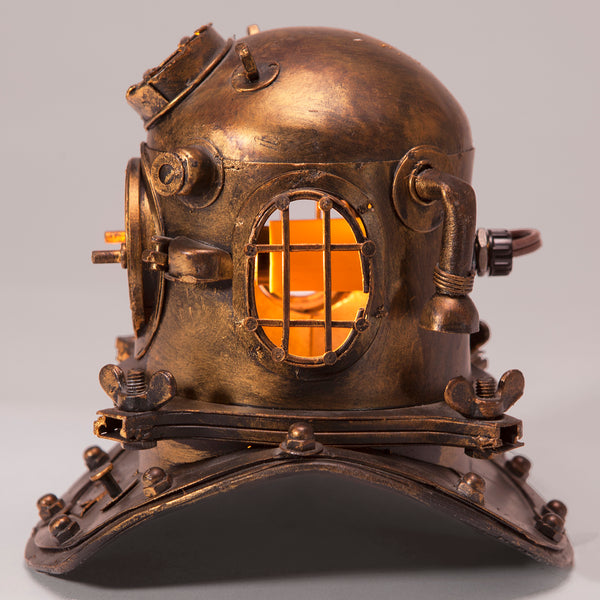 Small Diving Helmet Up-cycled Lamp