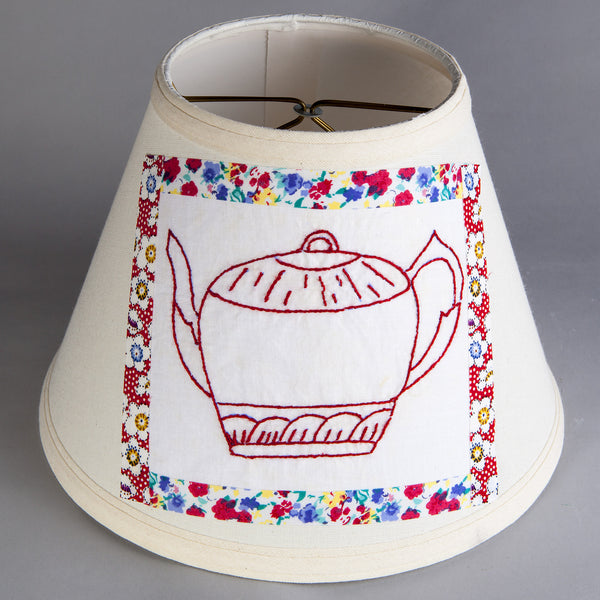 Vintage Embroidered Red Teapot Fabric on New Lamp Shade