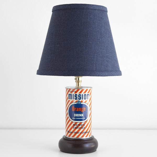 Vintage Mission Orange Drink Can Lamp