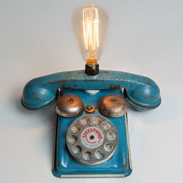 Vintage Blue Metal Kids Telephone Mini Lamp