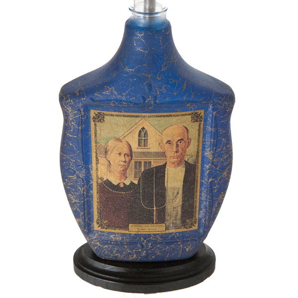 One-of-a-Kind Lamp Handcrafted from Vintage Bottle with American Gothic