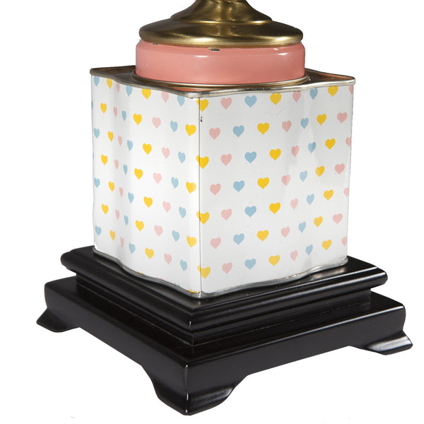 Vintage Pastel Hearts Tea Caddy Lamp