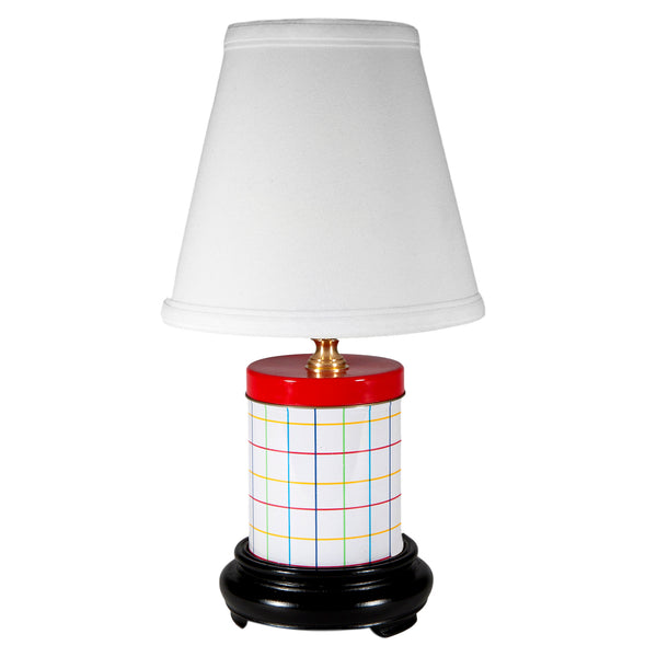 Vintage Colorful Small Plaid Metal Canister Lamp