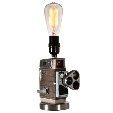 Vintage Bell & Howell Movie Camera Lamp with Filament Lightbulb