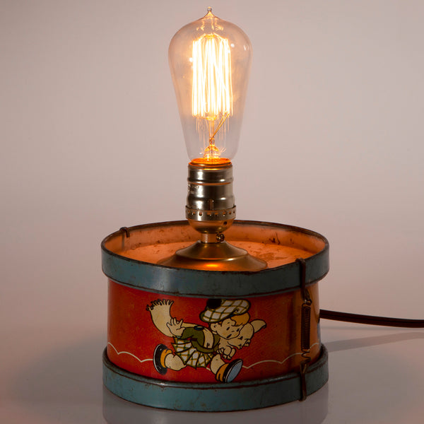 Vintage Children's Litho Metal Drum with New Filament Lightbulb
