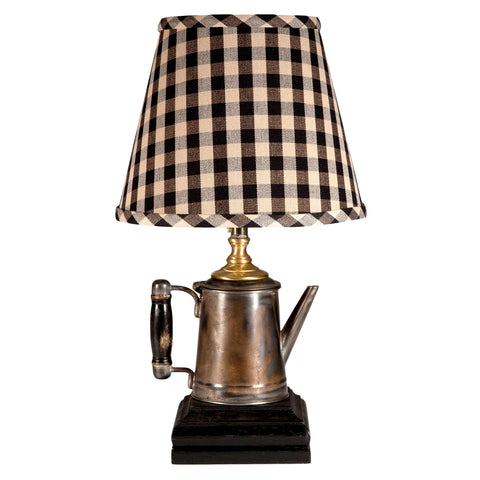 Vintage Metal Pitcher with Wood Handle Lamp