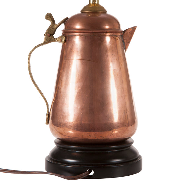 Vintage Copper Teapot Lamp with New Black Lampshade