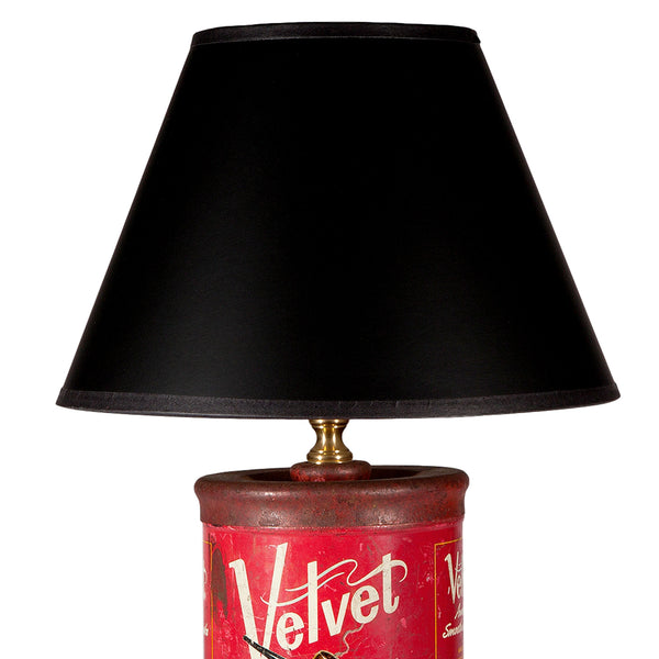 Vintage Red Velvet Tobacco Tin Lamp