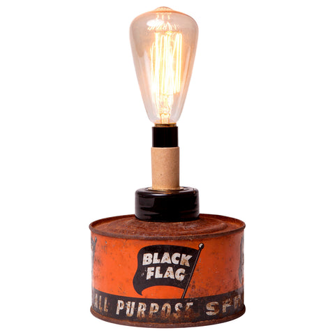 Vintage Black Flag Can Mini Lamp with Filament Bulb