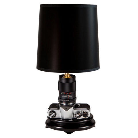 Vintage Pentax Camera Lamp with New Black Parchment Lampshade