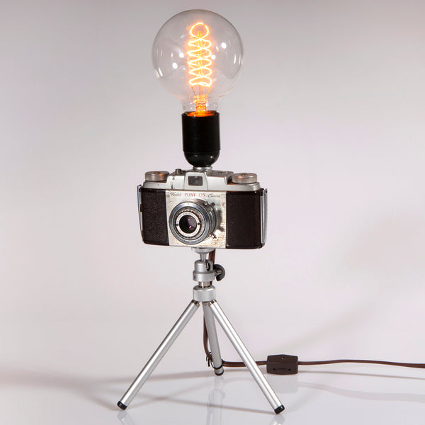 Handcrafted Lamp from Kodak Pony 135, Model C Camera Mounted on Tripod