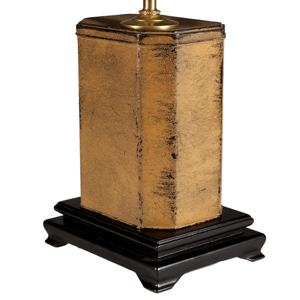 Vintage-styled Rectangular Decoupaged Metal Lamp