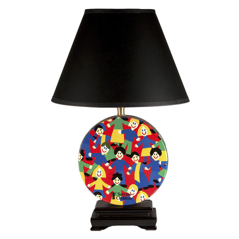 Colorful Save the Children Tin Upcycled Lamp