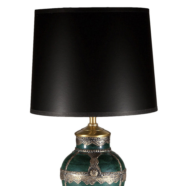 Unique Green Ceramic with Silver Overlay Lamp