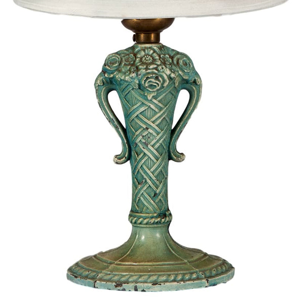 Vintage Teal Green Metal Small Urn Lamp