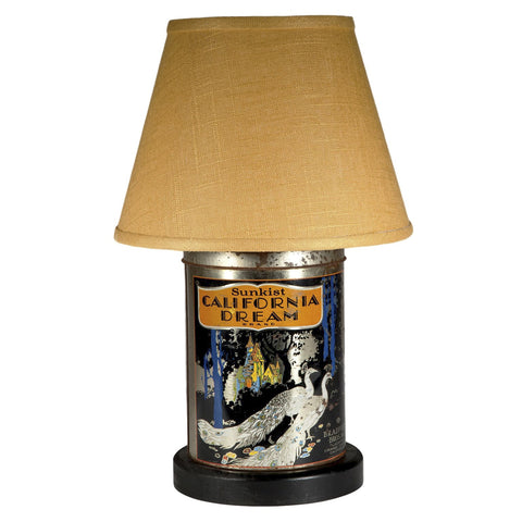 Vintage California Dream Peacock Tin Lamp